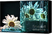 Sari Canvas Prints - Jar of Daisies Canvas Print by Sari Sauls