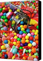 Foodstuff Canvas Prints - Jar spilling bubblegum with candy Canvas Print by Garry Gay