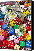 Gambling Canvas Prints - Jar Spilling Dice Canvas Print by Garry Gay