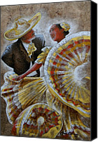 Handmade Paper Canvas Prints - Jarabe Tapatio Dance Canvas Print by Juan Jose Espinoza