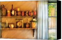 Colonial Kitchen Canvas Prints - Jars - Kitchen Shelves Canvas Print by Mike Savad