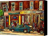 Leonard Cohen Canvas Prints - Java U Coffee Shop Montreal Painting By Streetscene Specialist Artist Carole Spandau Canvas Print by Carole Spandau