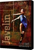 Throw Mixed Media Canvas Prints - Javelin thrower Canvas Print by John Turek