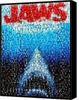 Jaws Canvas Prints - JAWS horror mosaic Canvas Print by Paul Van Scott