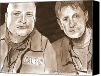 Ghosts Drawings Canvas Prints - Jay and Grant The Ghost Hunters Canvas Print by Jason Kasper