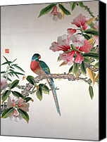 Embroidery Tapestries - Textiles Canvas Prints - Jay on a flowering branch Canvas Print by Chinese School