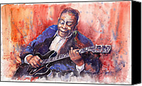 Blues Guitar Canvas Prints - Jazz B B King 06 a Canvas Print by Yuriy  Shevchuk