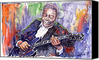 Blues Guitar Canvas Prints - Jazz B B King 06 Canvas Print by Yuriy  Shevchuk