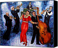 Night Tapestries - Textiles Canvas Prints - Jazz Band Canvas Print by Linda Marcille