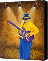 Blues Guitar Canvas Prints - Jazz Guitar Man Canvas Print by Pamela Allegretto