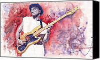 Blues Guitar Canvas Prints - Jazz Guitarist Marcus Miller Red Canvas Print by Yuriy  Shevchuk
