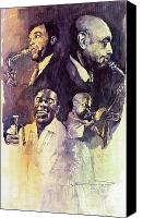 Portret Canvas Prints - Jazz Legends Parker Gillespie Armstrong  Canvas Print by Yuriy  Shevchuk