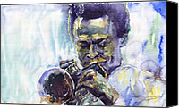 Portret Canvas Prints - Jazz Miles Davis 10 Canvas Print by Yuriy  Shevchuk