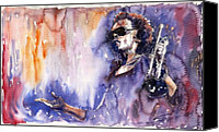 Man Painting Canvas Prints - Jazz Miles Davis 14 Canvas Print by Yuriy  Shevchuk