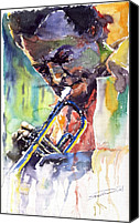Portret Canvas Prints - Jazz Miles Davis 9 Blue Canvas Print by Yuriy  Shevchuk