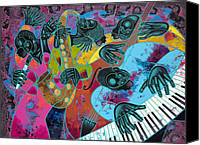 Figurative Canvas Prints - Jazz On Ogontz Ave. Canvas Print by Larry Poncho Brown