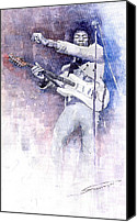 Figurative Canvas Prints - Jazz Rock Jimi Hendrix 07 Canvas Print by Yuriy  Shevchuk