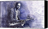 Figurative Canvas Prints - Jazz Saxophonist John Coltrane 03 Canvas Print by Yuriy  Shevchuk
