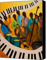 Combo Canvas Prints - Jazz Septet Canvas Print by Larry Martin