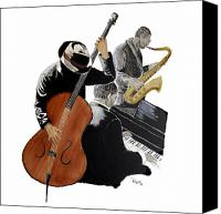 Saxaphone Painting Canvas Prints - Jazz Trio Canvas Print by Richard Roselli