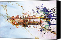 Brass Digital Art Canvas Prints - Jazz Trumpet Canvas Print by David Ridley