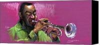 Pastel Canvas Prints - Jazz Trumpeter Canvas Print by Yuriy  Shevchuk