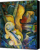 Greeting Cards Canvas Prints - Jazzy Cello Canvas Print by Susanne Clark