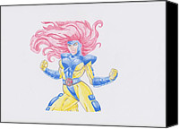 Thor Drawings Canvas Prints - Jean Grey Canvas Print by Toni Jaso