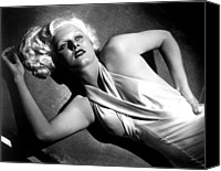 Satin Dress Canvas Prints - Jean Harlow, Fashion Still For Dinner Canvas Print by Everett