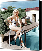 Harlow Canvas Prints - Jean Harlow Poses In Front Of Her Home Canvas Print by Everett