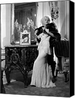 Harlow Canvas Prints - Jean Harlow With Photograph Canvas Print by Everett