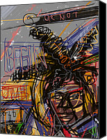 Celebrity Mixed Media Canvas Prints - Jean Michel Basquiat Canvas Print by Russell Pierce