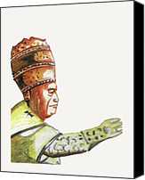 Pope Drawings Canvas Prints - Jean XXIII Canvas Print by Emmanuel Baliyanga