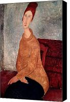 Abstract Expressionist Canvas Prints - Jeanne Hebuterne in a Yellow Jumper Canvas Print by Amedeo Modigliani