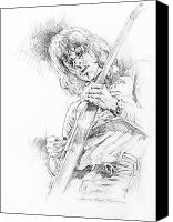 Paul Drawings Canvas Prints - Jeff Beck - Truth Canvas Print by David Lloyd Glover