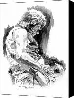 Jeff Drawings Drawings Canvas Prints - Jeff Beck in Concert Canvas Print by David Lloyd Glover