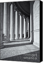 D.c. Photo Canvas Prints - Jefferson Memorial Columns and Shadows Canvas Print by Clarence Holmes
