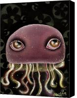 Jellyfish Painting Canvas Prints - Jellyfish Canvas Print by  Abril Andrade Griffith