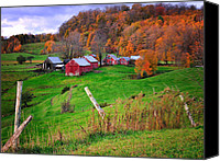 Vermont Autumn Foliage Canvas Prints - Jenne Farm-Autumn scenic from Reading Vermont  Canvas Print by Thomas Schoeller