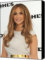 Lip Gloss Canvas Prints - Jennifer Lopez Wearing A Gucci Dress Canvas Print by Everett
