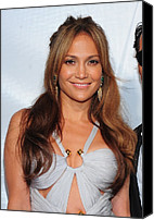 Gold Earrings Photo Canvas Prints - Jennifer Lopez Wearing An Emilio Pucci Canvas Print by Everett