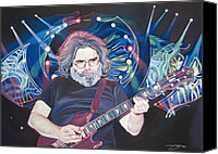 Singer Drawings Canvas Prints - Jerry Garcia and Lights Canvas Print by Joshua Morton