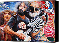 Figurative Canvas Prints - Jerry Garcia and the Grateful Dead Canvas Print by Darwin Leon
