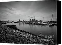 Black And White Yacht Canvas Prints - Jersey City Yacht Club Canvas Print by Valerie Morrison