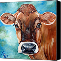 Cow Canvas Prints - Jersey Girl Canvas Print by Laura Carey
