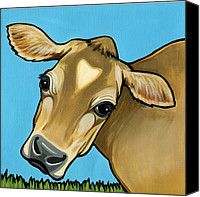 Cow Canvas Prints - Jersey Canvas Print by Leanne Wilkes