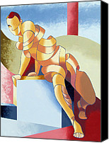 Cubism Canvas Prints - Jesse - Abstract Acrylic Figurative Painting Canvas Print by Mark Webster