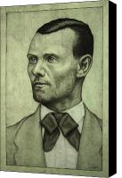 Old Drawings Canvas Prints - Jesse James Canvas Print by James W Johnson