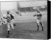 Baseball Players Canvas Prints - Jesse Owens Beating Baseball Player Canvas Print by Everett