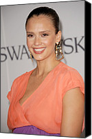 Gold Earrings Photo Canvas Prints - Jessica Alba At Arrivals For The 2011 Canvas Print by Everett